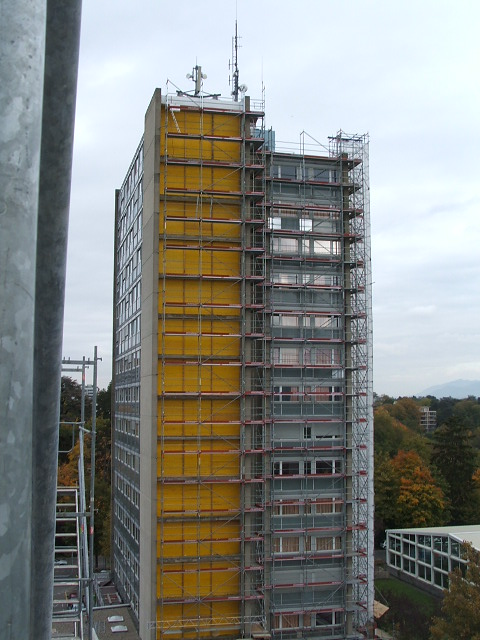 Building A stairwell with scaffolding